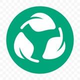 Modello libero di plastica riciclabile dell'icona del pacchetto Etichetta verde biodegradabile della foglia di vettore immagini stock