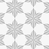 Modello lineare di vettore, ripetente le foglie astratte, linea grigia di foglia o fiore, floreale grafico pulisca la progettazio Fotografia Stock Libera da Diritti