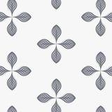 Modello lineare di vettore, ripetente le foglie astratte, linea grigia di foglia o fiore, floreale grafico pulisca la progettazio Fotografia Stock