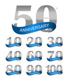 Modello Logo Set Anniversary Vector Illustration illustrazione di stock