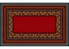 Modello luminoso del tappeto con il confine eterogeneo e un centro rosso Fotografia Stock Libera da Diritti
