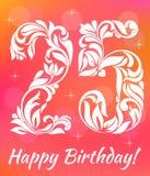 Modello luminoso dell'invito della cartolina d'auguri Celebrando 25 anni di compleanno Fonte tipografica decorativa royalty illustrazione gratis