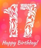 Modello luminoso della cartolina d'auguri Celebrando 17 anni di compleanno Fotografia Stock