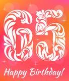 Modello luminoso della cartolina d'auguri Celebrando 65 anni di compleanno Fonte tipografica decorativa Fotografia Stock Libera da Diritti