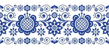 Modello lungo di piega vettore scandinavo di arte di retro, ornamento floreale nella banda senza cuciture blu- della banda della  Fotografia Stock