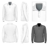 Modello lungo di progettazione della polo-camicia della manica degli uomini illustrazione vettoriale