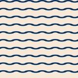 Modello marino di vettore senza cuciture con le onde blu Fotografia Stock Libera da Diritti