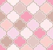 Modello marocchino classico elegante del traliccio in tonalità rosa e beige Priorità bassa senza giunte di vettore illustrazione vettoriale