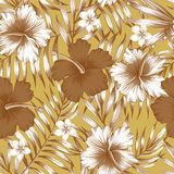 Modello marrone del fondo dell'oro delle foglie di palma dell'ibisco Fotografia Stock Libera da Diritti