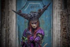 Modello mascherato veneziano Fotografie Stock