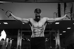 Modello maschio di forma fisica con il torso nudo che posa nella palestra Immagine Stock