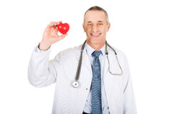 Modello maschio maturo del cuore della tenuta di medico Fotografia Stock