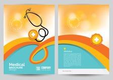 Modello medico della disposizione dell'aletta di filatoio dell'opuscolo, dimensione A4 Fotografia Stock