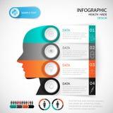 Modello medico della testa di progettazione di Infographic Fotografie Stock