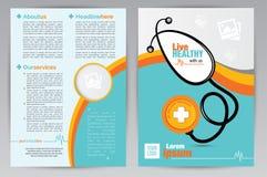 Modello medico di progettazione dell'opuscolo A4 - modello medico dell'opuscolo di entrambi i lati A4 Fotografie Stock