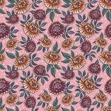 Modello medievial senza cuciture con i fiori di fantasia Fondo senza cuciture floreale per il tessuto, tessuto, coperture, carte  Fotografie Stock Libere da Diritti