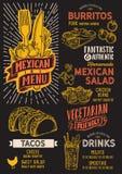 Modello messicano dell'alimento del menu per il ristorante con lo scarabocchio disegnato a mano illustrazione di stock