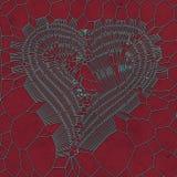 Modello metallico blu dell'estratto del cuore su fondo rosso rappresentazione 3d Fotografia Stock
