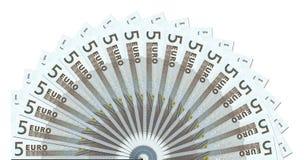 Modello mezzo del cerchio delle 5 euro note Fotografie Stock Libere da Diritti