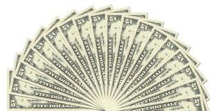 Modello mezzo del cerchio delle 5 note del dollaro Fotografia Stock Libera da Diritti