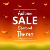 Modello minimalista di vendita di tema di autunno di vettore con il confine illustrazione di stock