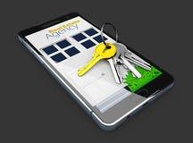 Modello mobile di app, vendita online o concetto di affitto con le chiavi sullo schermo, il nero isolato, illustrazione 3d Fotografie Stock