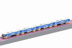Modello moderno 3D del treno i precedenti bianchi Immagini Stock Libere da Diritti