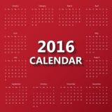 Modello moderno del calendario 2016 Fotografie Stock Libere da Diritti