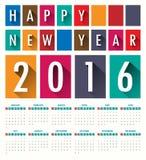Modello moderno del calendario dell'ombra 2016 lunghi piani Vettore Immagine Stock