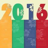 Modello moderno del calendario 2016 vettore/illustrazione Fotografia Stock Libera da Diritti