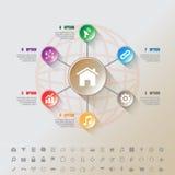 Modello moderno del complemento di Infographic con 7 cerchi del bottone ed insieme delle icone Fotografia Stock