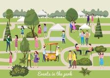 Modello moderno del manifesto o dell'aletta di filatoio, vari caratteri differenti della gente, uomini e donne nel parco, festiva illustrazione vettoriale