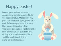Modello moderno della cartolina della decorazione di celebrazione di progettazione di stile di festa piana di Pasqua Uova dipinte Fotografia Stock
