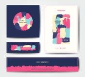 Modello moderno della cartolina della spazzola di lerciume Immagini Stock Libere da Diritti