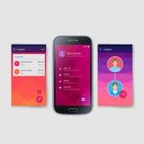 Modello moderno dello schermo dell'interfaccia utente per il cellulare Immagini Stock Libere da Diritti