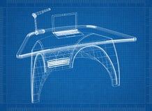 Modello moderno dello scrittorio 3D del computer royalty illustrazione gratis