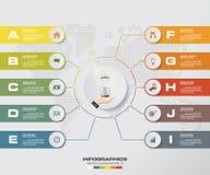 Modello moderno di infographics di affari di presentazione di 10 opzioni ENV 10 Immagini Stock