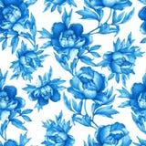 Modello monocromatico blu senza cuciture floreale d'annata con le peonie di fioritura, su fondo bianco Illust disegnato a mano de Fotografie Stock Libere da Diritti