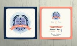 Modello nautico d'annata della carta dell'invito di nozze della corona del faro Illustrazione di Stock