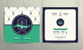 Modello nautico d'annata della carta dell'invito di nozze della corona dell'ancora Fotografia Stock Libera da Diritti