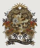 modello nello stile etnico, grafico del cranio della maglietta illustrazione vettoriale