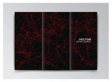 Modello nero del libretto con gli elementi rossi astratti Immagine Stock