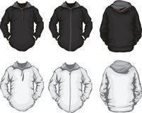 Modello nero della maglietta felpata del hoodie degli uomini bianchi Immagine Stock Libera da Diritti