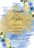 Modello nero e blu dell'invito di nozze dell'acquerello Fotografia Stock