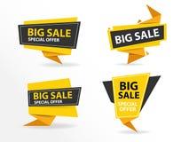 Modello nero giallo dell'insegna di vendita di acquisto, raccolta dell'insegna di vendita a ribasso Immagine Stock Libera da Diritti
