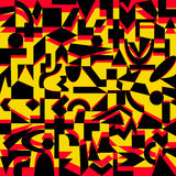 Modello nero, giallo, rosso delle forme geometriche Fotografia Stock Libera da Diritti