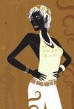 Modello nero marrone di modo. Fotografia Stock Libera da Diritti