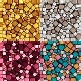 Modello Non senza cuciture di carta da imballaggio di Amber Yellow Beige Gray Burgundy Rose Cakes Pink Breeze Colors, collage del fotografia stock libera da diritti