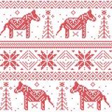 Modello nordico di Natale con le stelle, fiocchi di neve, cavalli in punto trasversale Fotografie Stock