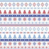 Modello nordico di Natale scuro e blu-chiaro e rosso con i fiocchi di neve, gli alberi, gli alberi di natale e gli ornamenti deco Immagine Stock Libera da Diritti